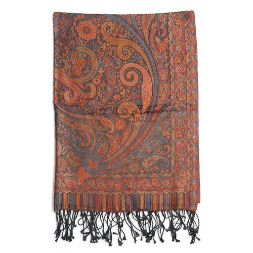 100% Superfine Silk Filigree Pattern Burnt Orange and Multi Colour Jacquard Jamawar Scarf with Fringes (Size 180x65 Cm) (Weight 125-140 Grams)