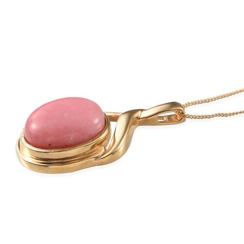 Peruvian Pink Opal (Ovl) Solitaire Pendant With Chain in 14K Gold Overlay Sterling Silver 7.000 Ct.