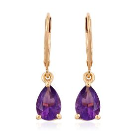 Natural Uruguay Amethyst (Pear) Lever Back Earrings in 14K Gold Overlay Sterling Silver 2.250 Ct.