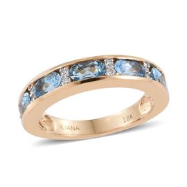 ILIANA 18K Yellow Gold 1.25 Carat AAA Santa Maria Aquamarine Band Ring With Diamond SI G-H
