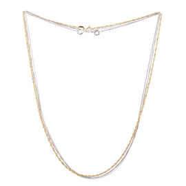 Vicenza Collection Set of 3 - 14K Gold Overlay Curb, Flat Rolo and Singapore Chain in Sterling Silver (Size 18), Silver wt 3.50 Gms.