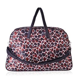 Giraffe Print Large Weekend Carryall Bag With Front Compartment and Shoulder Strap(Size 48x31x13 Cm)