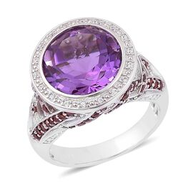 African Amethyst (Rnd 6.25 Ct), Mozambique Garnet and White Zircon Ring in Rhodium Plated Sterling Silver 7.750 Ct.