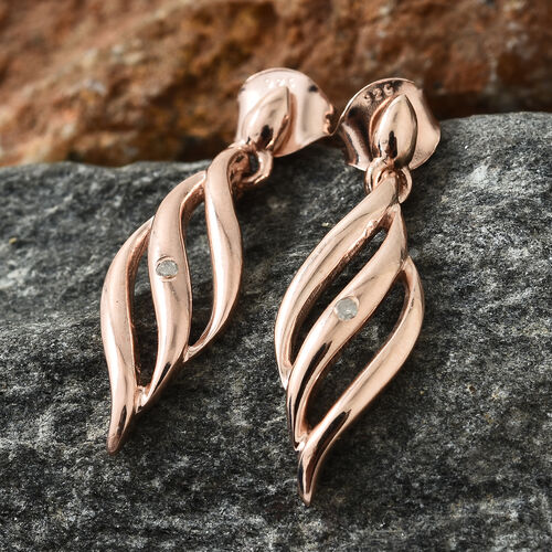 Diamond Silver Earrings (with Push Back) in Rose Gold Overlay