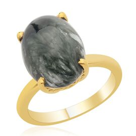 Siberian Seraphinite (Ovl) Solitaire Ring in 14K Gold Overlay Sterling Silver 6.750 Ct.