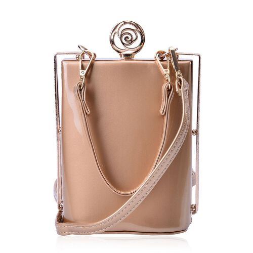 Champagne Colour Clutch Bag With Removable Shoulder Strap (Size 17x13x10 Cm)