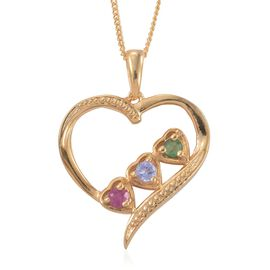 African Ruby (Rnd), Tanzanite and Kagem Zambian Emerald Heart Pendant with Chain in 14K Gold Overlay Sterling Silver