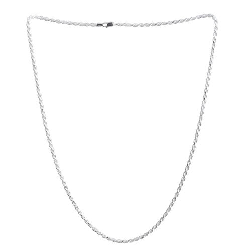 Vicenza Collection - Designer Inspired - Sterling Silver Diamond Cut Rope Chain (Size 30), Silver wt 36.50 Gms.