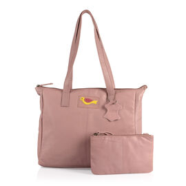 Set Of Two -Marie Full Grain Genuine Leather Blush Pink Tote Bag with RFID Pouch ( 31x9x28cm and 20x13cm)