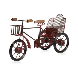 Home Decor - Red Colour Handmade Rickshaw with Basket at the Front