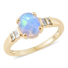 9K Y Gold AAA Ethiopian Welo Opal (Ovl 1.65 Ct), Diamond Ring 1.750 Ct.