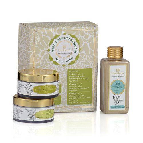 Just Herbs Mint Green Tea Vetiver (65g), Clear Under Eye Gel (50g) and Brite Under Eye Cream (50g)