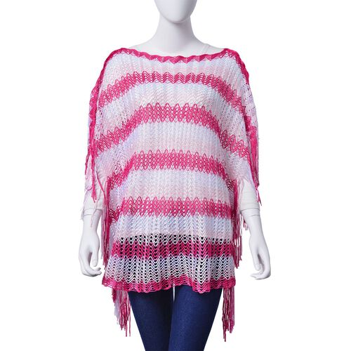 Lace Pattern Pink and White Colour Poncho with Tassels (Size 90x55 Cm)