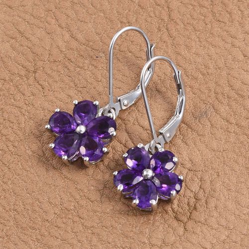 Natural Uruguay Amethyst (Pear) Floral Lever Back Earrings in Platinum Overlay Sterling Silver 3.250 Ct.