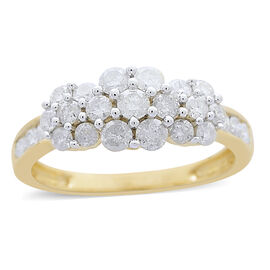 9K Yellow Gold SGL Certified Diamond (Rnd) (I3/G-H) Triple Floral Ring 1.000 Ct.