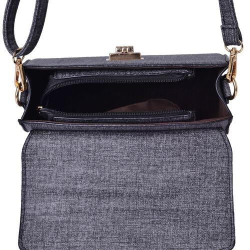 Marella Black Crossbody Bag with Adjustable and Removable Shoulder Strap (Size 25.5x22.5x9 Cm)