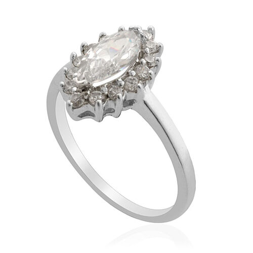 Simulated White Diamond Ring in Sterling Silver