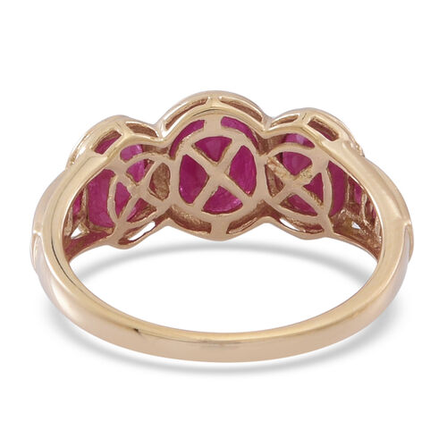 9K Y Gold Burmese Ruby (Ovl 1.40 Ct) Ring 4.000 Ct.
