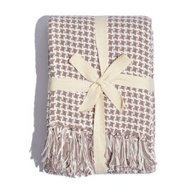 100% Cotton Houndstooth Pattern Creme and White Colour Throw with Fringes (Size 150x125 Cm)