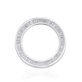 ELANZA AAA Simulated Diamond (Bgt) Circle Pendant in Rhodium Plated Sterling Silver