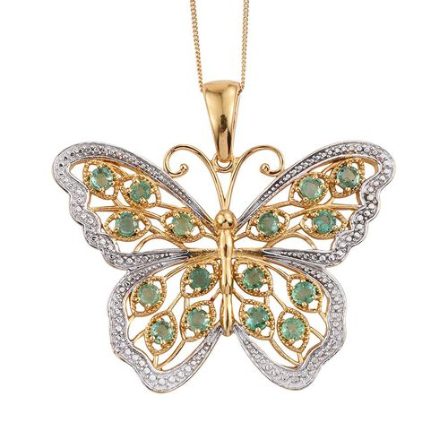 Limited Available AAA Kagem Zambian Emerald (Rnd) Butterfly Pendant With Chain (Size 30) in 14K Gold Overlay Sterling Silver 2.500 Ct., Silver weight 16.50 Gram