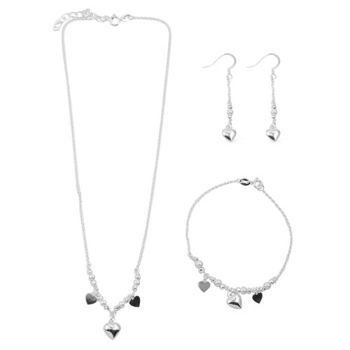 Close Out Deal Rhodium Plated Sterling Silver Heart Charm Necklace (Size 16 with 2 inch Extender), Bracelet (Size 7.50) and Hook Earrings, Silver wt 9.70 Gms.