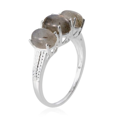 Labradorite (Ovl 2.00 Ct) 3 Stone Ring in Sterling Silver 4.750 Ct.