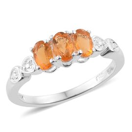 One Time Deal-Jalisco Fire Opal (Ovl) Trilogy Ring in Sterling Silver