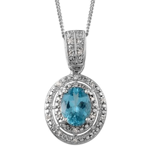 AA Paraibe Apatite (Ovl 1.00 Ct), Simulated Diamond Pendant With Chain in Platinum Overlay Sterling Silver 1.250 Ct.