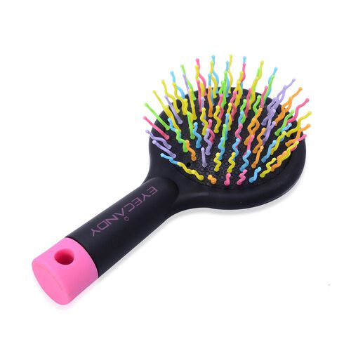 Set of 2 - Pink and Black Colour Styler and Pink Colour Rainbow Comb with Mirror