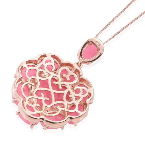 Pink Jade (Hrt 6.75 Ct) Pendant With Chain in Rose Gold Overlay Sterling Silver 16.500 Ct.