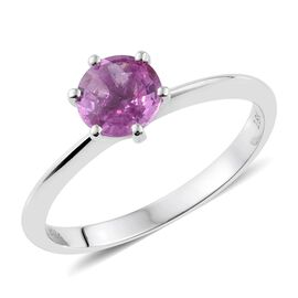 ILIANA 18K White Gold 1 Carat Pink Sapphire Solitaire Ring