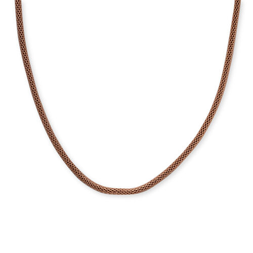 ION Plated Rose Gold Stainless Steel Mesh Necklace (Size 18)