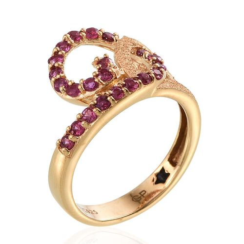 GP Burmese Ruby (Rnd), Kanchanaburi Blue Sapphire Ring in 14K Gold Overlay Sterling Silver 1.010 Ct.