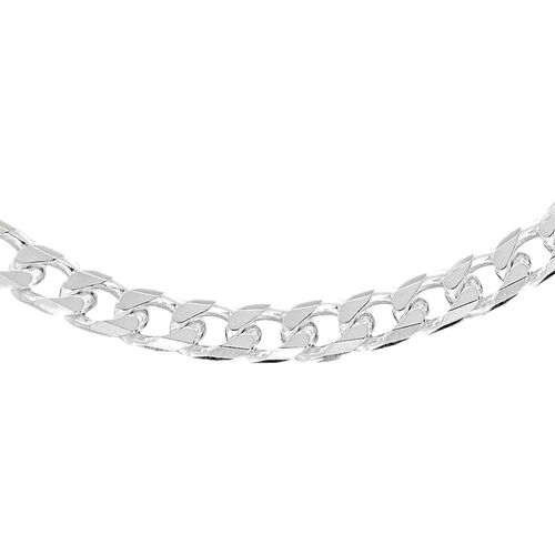 Vicenza Collection- Italian Made Diamond Cut Curb Chain in Sterling Silver (Size 22), Silver wt. 28.04 Gms.