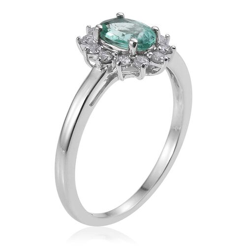 9K White Gold 1 Carat Boyaca Colombian Emerald, Diamond Ring.