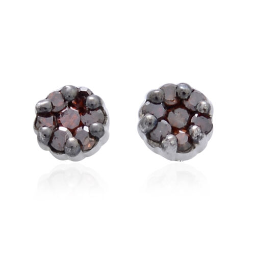 Red Diamond (Rnd) Stud Earrings (with Push Back) in Platinum Overlay Sterling Silver 0.150 Ct.