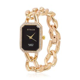 Designer Inspired- STRADA Japanese Movement White Austrian Crystal Watch in Yellow Gold Tone with Stainless Steel Back