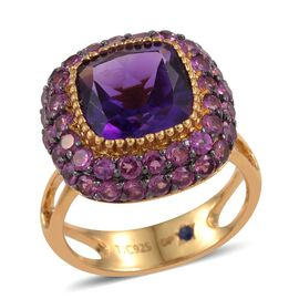 GP Amethyst (Cush 3.75 Ct), Rhodolite Garnet and Kanchanaburi Blue Sapphire Ring in 14K Gold Overlay Sterling Silver 6.000 Ct.