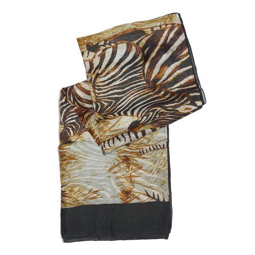 100% Mulberry Silk Black, White and Rusty Orange Colour Zebra Printed Scarf (180x100 Cm)
