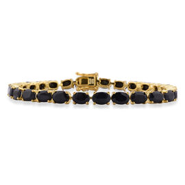 Black Sapphire (Ovl) Bracelet (Size 7.5) in Yellow Gold Overlay Sterling Silver 18.000 Ct.