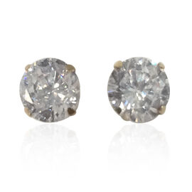 9K Y Gold AAA Simulated Diamond (Rnd) Stud Earrings (with Push Back)