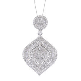 ELANZA AAA Simulated Diamond (Rnd) Pendant With Chain in Rhodium Plated Sterling Silver.Silver Wt 12.15 Gms
