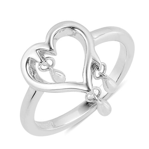 LucyQ Melting Heart Ring with 3 Drip in Rhodium Plated Sterling Silver