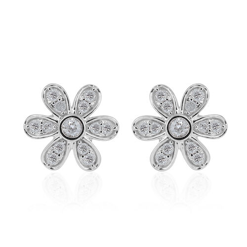 9K White Gold SGL Certified Diamond (Rnd) (I3/G-H) Floral Stud Earrings (with Push Back) 0.500 Ct.