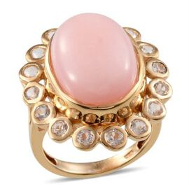 Peruvian Pink Opal (Ovl 10.50 Ct), White Topaz Ring in 14K Gold Overlay Sterling Silver 12.750 Ct.
