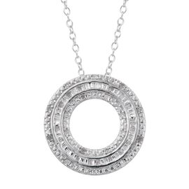Diamond (Rnd) Circle Pendant With Chain in Platinum Overlay Sterling Silver 0.250 Ct.