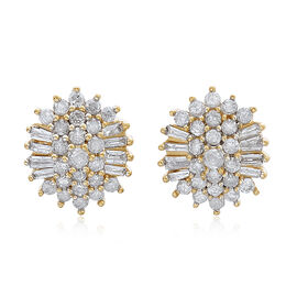 9K Yellow Gold 1 Carat Diamond Stud Earrings SGL Certified I3 G-H.