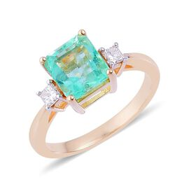 Boyaca Colombian Emerald (Oct), Diamond Ring in 14K Y Gold 2.850 Ct.