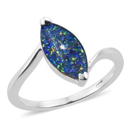 Australian Boulder Opal (Mrq) Solitaire Ring in Sterling Silver 1.250 Ct.